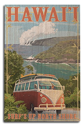 Lantern Press North Shore, Hawaii - Surf's Up - Camper Van Coastal (10x15 Wood Wall Sign, Wall Decor Ready to Hang) by Lantern Press
