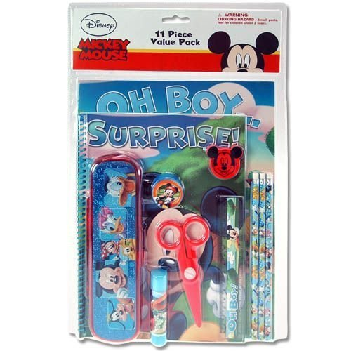 - Disney Mickey Mouse 11 Piece Stationery (School) Set - Pencil Pouch, Pencils, Erasers, Pencil Sharpener & More