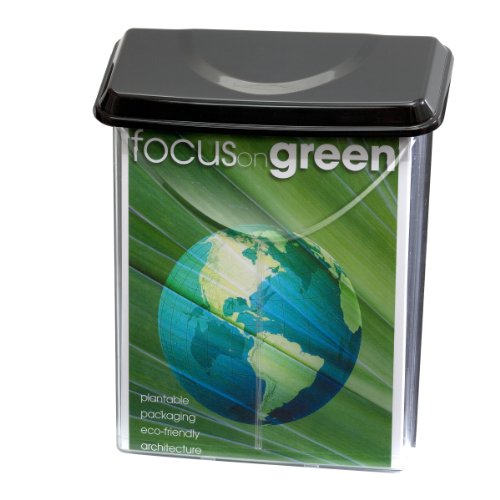 "Officemate Outdoor Literature Holder , Holds 8 ½"" x 11"" Letter Size, Clear with Black Lid (23020)"