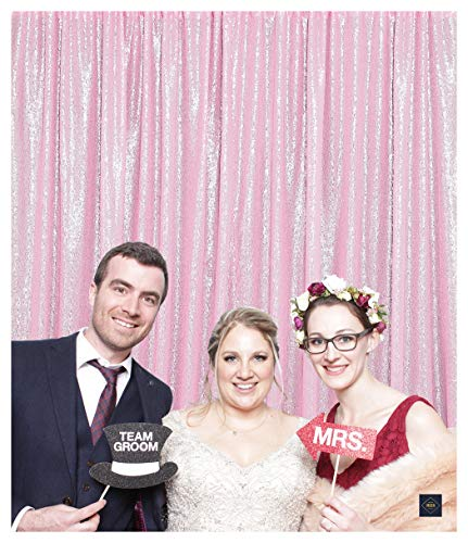 QueenDream 7ft x 7ft(84x84Inch) Pink Sequin Backdrop - Backdrop Photography and Photo Booth Backdrop for Wedding/Party/Photography/Curtain/Birthday/Christmas/Prom/Other Event Decor