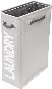 comfortez Slim Laundry Hamper Foldable Laundry Basket with Handle(Light Grey-1)