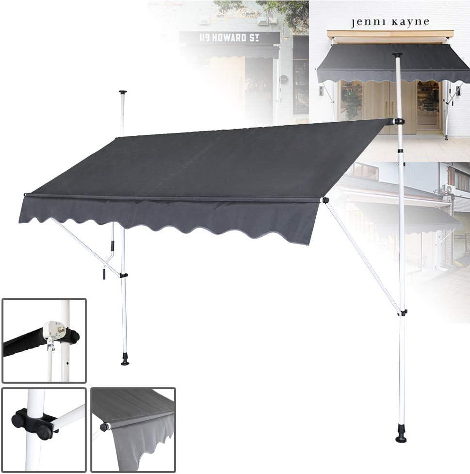 HENGMEI Markise Einziehbar 350X120cm Klemmmarkise Balkonmarkise Sonnenschutz ohne Bohren H/öhenverstellbar 350cm breit, Beige