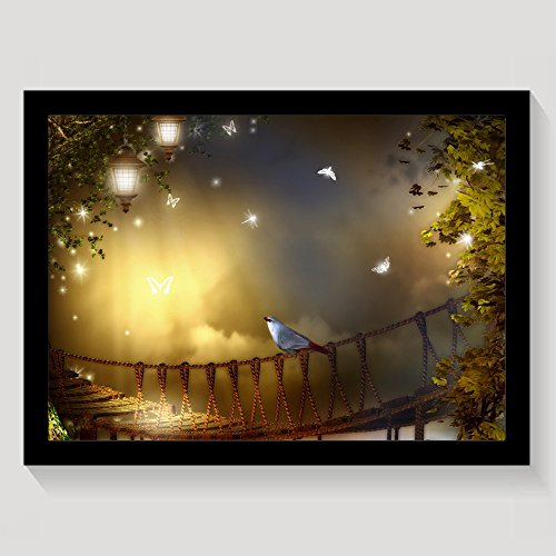 Bird On Rope Bridge With Shiny Butterflies And Dragonflies Framed Wall Art Prints On Canvas Wall Decorations Picture Wooden Frames Gift Black - Dragonfly Picture Photo Frame