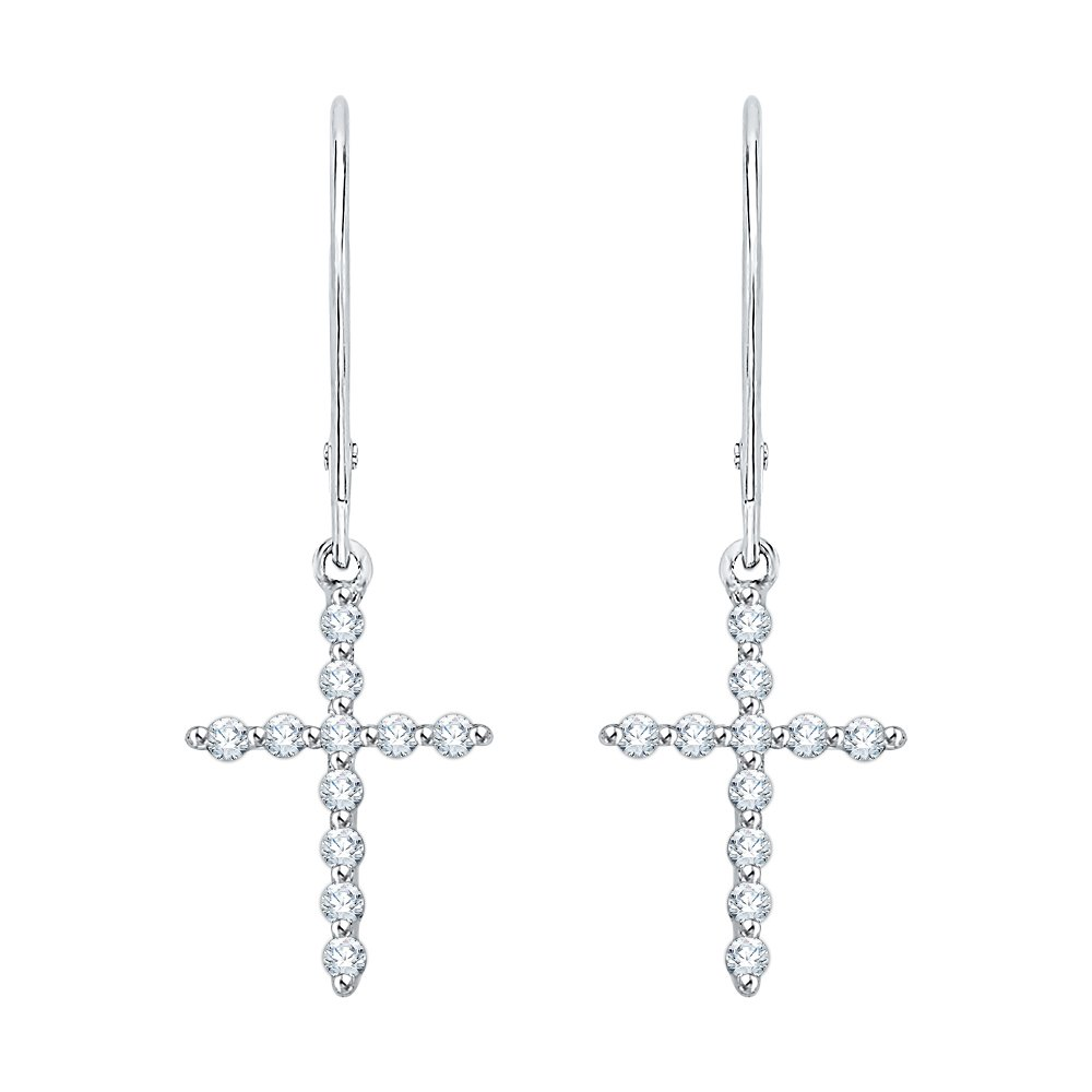 KATARINA Lever Back Round Cut Diamond''Cross'' Dangle Earrings in 14K White Gold (1/6 cttw, G-H, I2-I3)