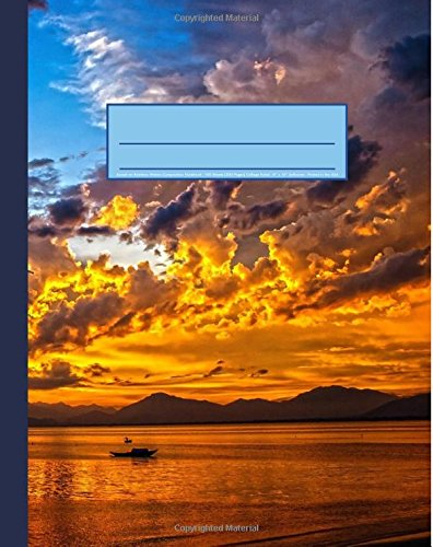 """Download Sunset on Rainbow Waters Composition Notebook: Nautical Landscape Journal, 200 Page Softcover Journal, College Ruled, 8""""x10"""" Workbook for School, Students, and Teachers PDF"""