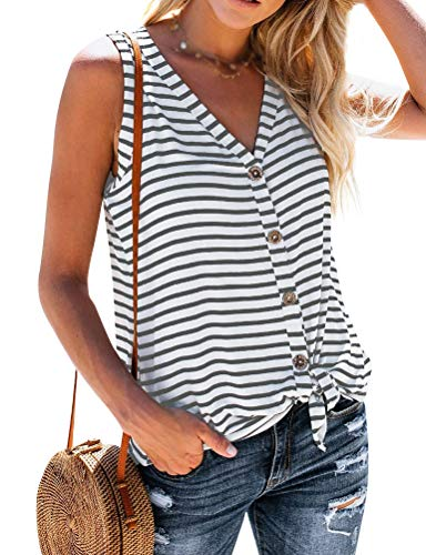 (ZJP Women Casual Sleeveless Stripe Tank Tops V-Neck Button up Vest T-Shirts Tees White)