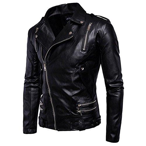 Pelle Alla Multi Haodasi Outwear Cappotto Moto Pu Invernale Nero zip Caldo Sottile Uomini Giacca Moda Yfqqw5F
