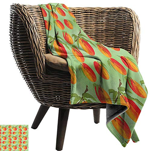(Super Soft Blanket Peach Botanical Organic Garden Delicacies Mellow Orange Nectarines with Leaves Recliner Throw,Couch Throw, Couch wrap 84