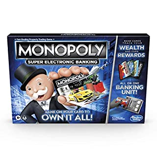Monopoly Super Electronic Banking Board Game, Electronic Banking Unit, Choose Your Rewards, Cashless Gameplay Tap Technology, for Ages 8 and Up