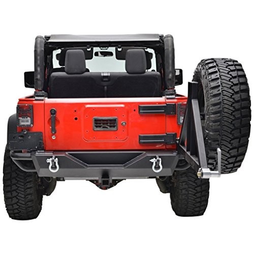 Restyling Factory Jeep Wrangler JK Black Rear Bumper with Tire Carrier and Hitch Receiver