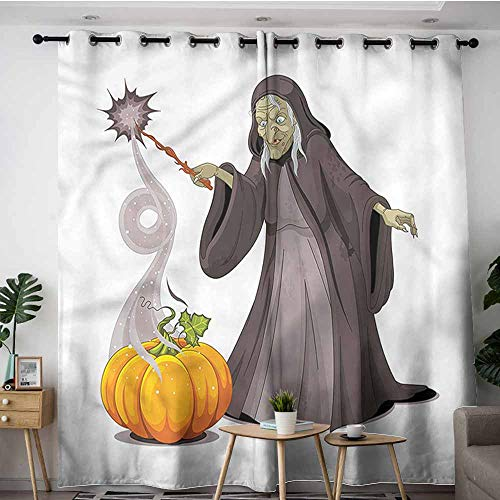 XXANS Extra Wide Patio Door Curtain,Witch,Spooky Woman Casts a Spell,Grommet Curtains for Bedroom,W96x72L (Grommet Spell)