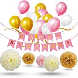 Birthday Party Decorations, 30pcs Gold Pink White Latex Balloons, 1pcs Happy Birthdays Banner Garland, 9pcs Tissue Paper Pom Poms for Birthday Celebrations - Bulk Decorations Kit for Girls, Boys & Adults (pink)