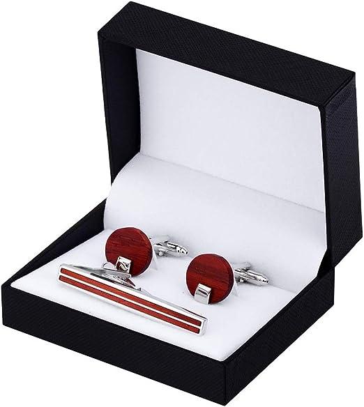LHT Combinación de Boda de sándalo Rojo Clip de Corbata Gemelos y ...
