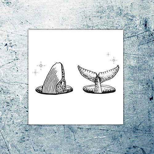 Queue de baleine Tatouage temporaire Lot de 2 tatouages