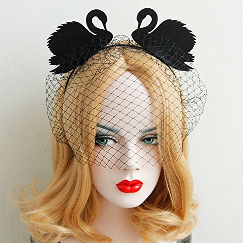 [Black Swan Veils Headband Costume Favors Accessories] (Swan Halloween Costumes)