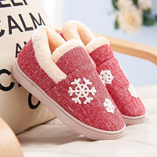 Y-Hui scarpe da uomo in inverno caldo interno antiscivolo spessore inferiore cotone pantofole pantofole amanti femmina in autunno e inverno,40-41 (Fit per 39-40 piedi),Claret