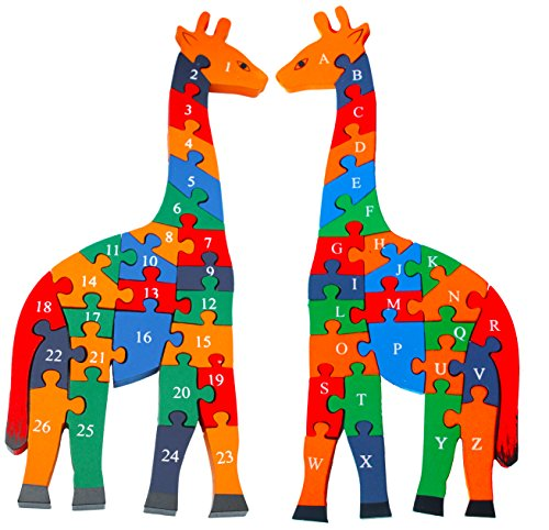 Toys of Wood Oxford Wooden Giraffe Alphabets and Numbers Jigsaw Puzzle 41 CM large size - wooden alphabet blocks educational toys for 3 year (Alphabet Giraffe)