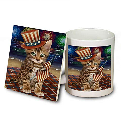 4th of July Independence Day Firework Bengal Cat Mug and Coaster Set MUC52395 (Coasters Safe Independence Dishwasher)