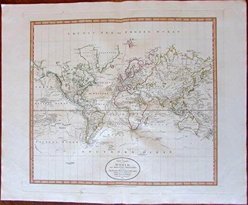 (World Map discovery navigator tracks Stony Mts. 1801 Cary lovely large old map)