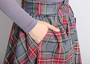 9b304676e6 Nite closet Plaid Skirts for Women Knee Length Red Irish Skirt (Red/Navy)  at Amazon Women's Clothing store: