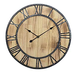 23.5-Inch Oversized Rustic Metal & Pine Wood Silent Non-Ticking Decorative Wall Clock with Large Roman Numerals
