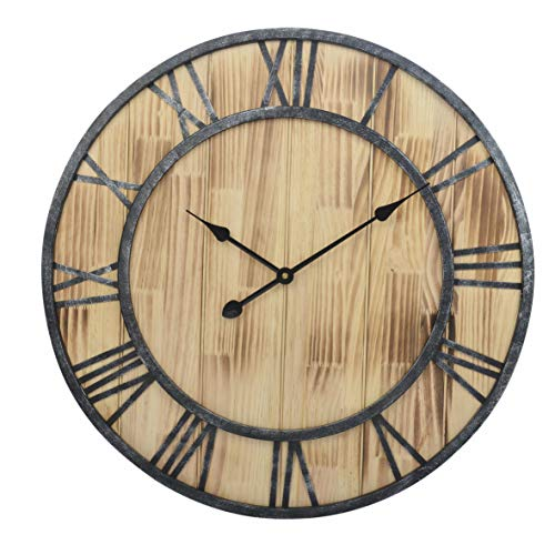23.5-Inch Oversized Rustic Metal Pine Wood Silent Non-Ticking Decorative Wall Clock with Large Roman Numerals