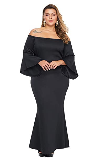 Foryingni Women\'s Elegant Plus Size Off Shoulder Evening Formal Maxi Dress