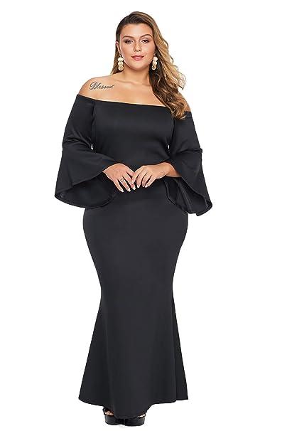 Foryingni Women\'s Elegant Plus Size Off Shoulder Evening Formal Maxi Dress