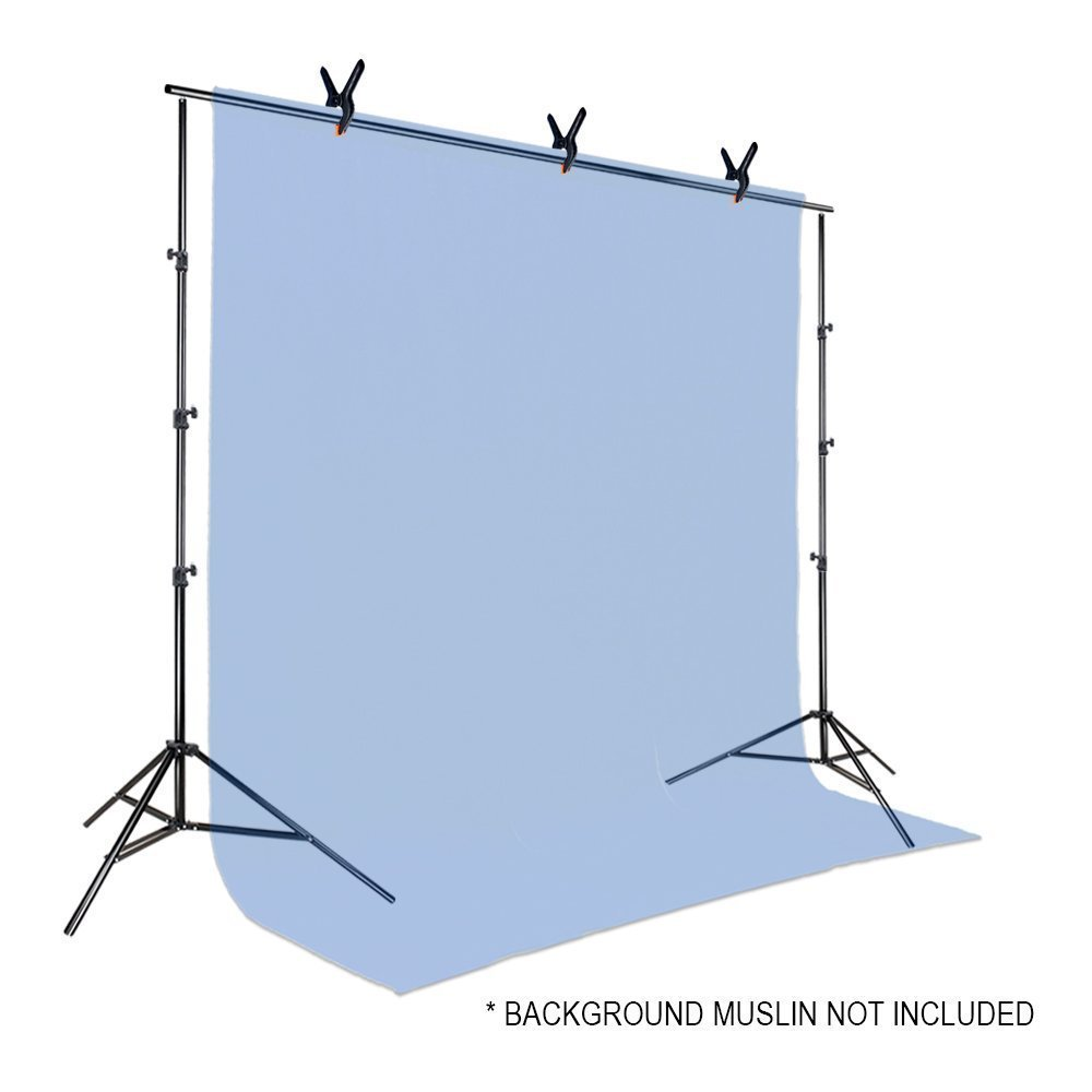 Julius Studio 10 ft. Wide Adjustable Background Muslin Support Structure System Stand and Cross Bar for Screen Backdrop with 3 Pack of Support Clamp, Stable Thick Pole, Photography Studio, JSAG242