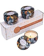 Anjou Bougies Parfumées Set 3 Pcs x 60 g (Fragrances Vanille Forte, Bois de Noël, Brise fraîche), Bougies Naturelles Fabriquées en Cire de Soja 100% pour Usage Aromathérapie, Bain, Yoga