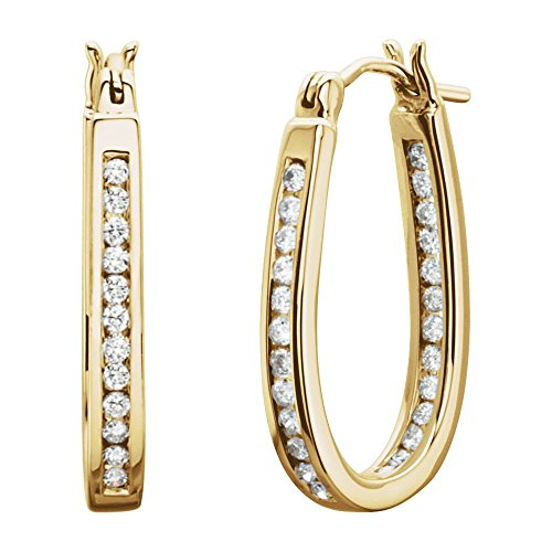 Jewels By Lux 14K Yellow Gold Pair 1/2 Ct Tw Polished Diamond Hoop Earring ()
