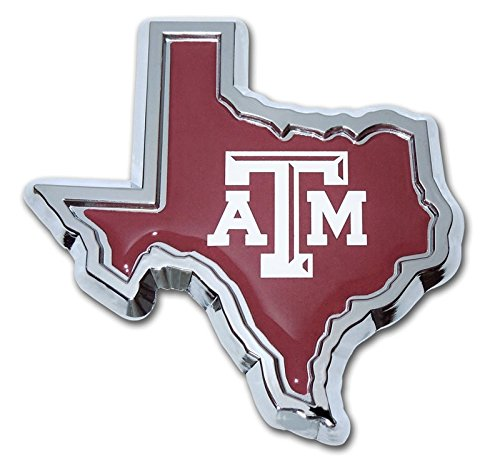 Texas A&M University Aggies Metal Auto Emblem - Many Available! (State Shaped Domed)