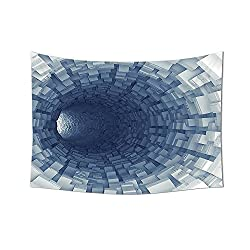 Outer Space Decor Tapestry Endless Tunnel with Fractal Square Shaped Segment Digital Dimension Artwork Wall Hanging for Bedroom Living Room Dorm Gray