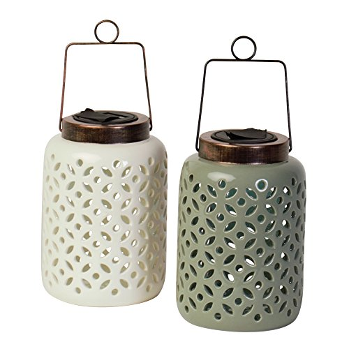Single Light Hanging Lantern (Cole & Bright 6720 - Indoor/Outdoor Single LED Solar Ceramic Lantern, 6 Pack)