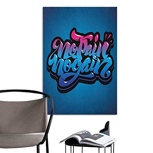 Decals Mural Fitness No Pain No Gain Motivational Quote Graffiti Style Typography Gym Training Blue Pink Pale Blue Corridor Walkway Wall W16 x H20 ()