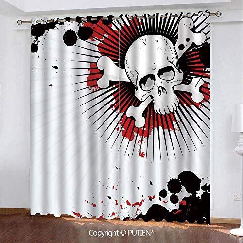 Satin Grommet Window Curtains Drapes [ Halloween,Skull with Crossed Bones over Grunge Background Evil Scary Horror Graphic,Pearl Red Black ] Window Curtain for Living Room Bedroom Dorm Room Classroom]()