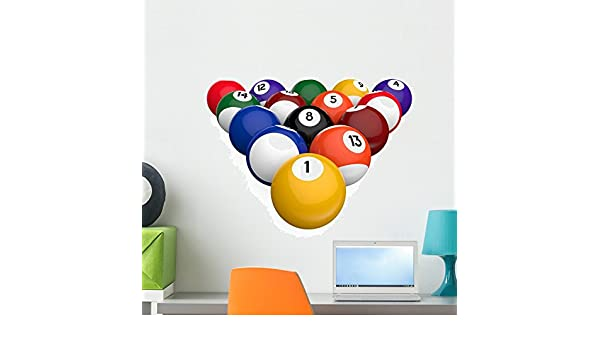 Wallmonkeys Bolas de Billar Peel and Stick Etiquetas de la Pared wm224126 (24 en w x 19 en H): Amazon.es: Hogar