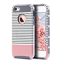 iPhone SE Case,iPhone 5S Case, iPhone 5 Case,ULAK Slim Fit Protection Case Shockproof Hard Rugged Ultra Protective Back Rubber Cover with Dual Layer Impact Protection Rose Gold Minimal Stripes Grey