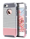 5c ulak full protection - iPhone SE Case,iPhone 5S Case, iPhone 5 Case,ULAK Slim Protection Case Hybrid Scratch Resistant Hard Back Cover Shock Absorbent TPU Bumper Protective Case(Minimal Rose Gold Stripes+Grey)
