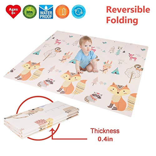 Baby Reversible Play Mat 78.72x70.8x0.39in Double-Sided Crawling Mat Foldable Waterproof Non-Toxic Portable BPA Free Floor Mat Non-Slip Activity Tummy Time for Toddlers, Infants, Kids