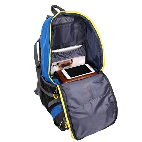 HWJIANFENG 45L Mochilas de Senderismo Hombre Portatil Impermeable de Nilon Mochilas de Excursion para Viajes Mochilas Unisex de Ciclismo Azul