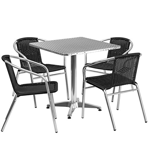 MFO 27.5'' Square Aluminum Indoor-Outdoor Table with 4 Black Rattan Chairs