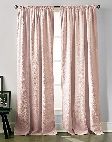 DKNY Chrysanthemum Floral Rod Pocket Back Tab Lined Curtain Panel Pair