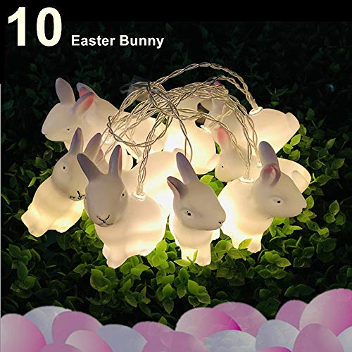 Senofun Easter Bunny Decoration LED String Lights Battery Powered 5ft 10Rabbits Easter Lights for Spring Easter Decoration Home Indoor Decoration (Easter Bunny) from Senofun