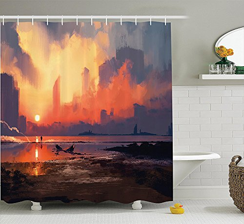 [Fantasy World Decor Collection Man on Sandy Beach with City Skyscrapers Skyline Sunset Oil Paint Style Graphic Polyester Fabric Bathroom Shower Curtain Set with Hooks Orange] (Nerd Costumes At Party City)