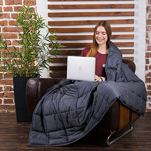 Class Cotton Weighted Blanket for Adult (48X72, 15 lbs, Twin Size, Dark Grey) Organic Cooling Cotton & Premium Glass Beads - Designed in USA - Heavy Cool Weighted Blanket for Hot & Cold Sleepers