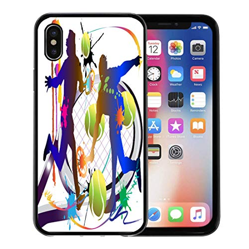 Emvency Phone Case for Apple iPhone Xs case,Racket Tennis Sport Action Active Activity Artist Ball Champions for iPhone X Case,Rubber Border Protective ()