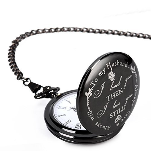 Pocket Watch – Engraved 'To My Husband' - a Gift from Wife to Husband, Best Anniversary Gifts for Men, or Birthday Present for him – by Frederick James