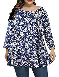 Women Plus Size 3/4 Sleeve Comfy Tunic Tops Loose T-Shirt