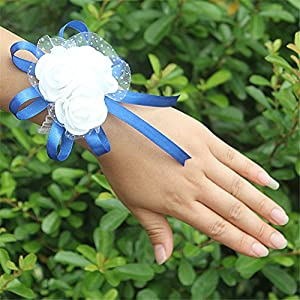 Hoxekle Wedding Adorable Bridal Bridesmaid Exquisite Floral Wrist Flower Corsage for Girl Bridesmaid Wedding Planner Wrist Corsage Hand Flower Pack of 2 19